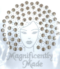 Magnificently Made Afro Girl (Light Brown) (13mm) Rhinestone Transfer