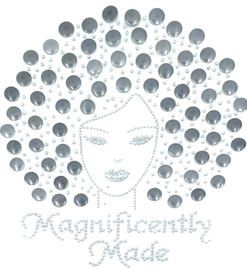 Magnificently Made Afro Girl (Grey) (13mm) Rhinestone Transfer