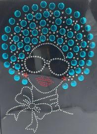 Afro Girl 13mm (Aqua Blue) Rhinestone Transfer