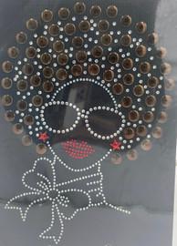 Afro Girl 13mm (Coffee) Rhinestone Transfer