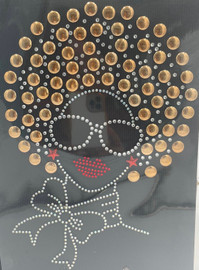 Afro Girl 13mm (Champagne) Rhinestone Transfer