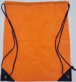 "Drawstring Nylon Tote Bag 16""W x 15""H x 2.5""D (Orange)"