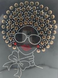 Afro Girl 13mm (Light coffee) Rhinestone Transfer