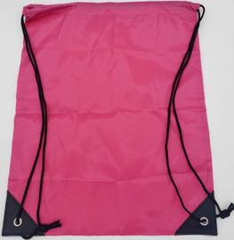"Drawstring Nylon Tote Bag 16""W x 15""H x 2.5""(Fuchsia)"