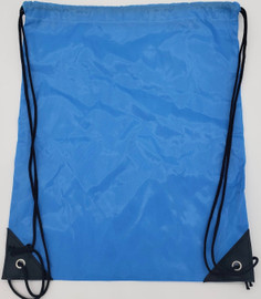 """Drawstring Nylon Tote Bag 16""""W x 15""""H x 2.5""""(BLUE)"""