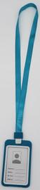 Lanyard with ID Card Name Tag hard plastic Badge Holder (Vertical) (Aqua Blue)