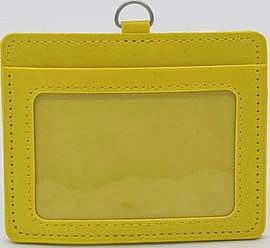 ID Card Name Tag Badge Holder PU leather (Horizontal) (Yellow)