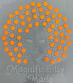 Magnificently Made Afro Girl (Neon Orange hair) (13mm) Rhinestone Transfer
