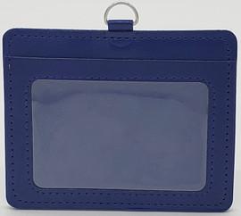 ID Card Name Tag Badge Holder PU leather (Horizontal) (Navy Blue)