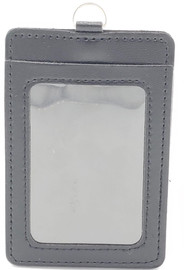 ID Card Name Tag Badge Holder PU leather (Vertical) (Grey)