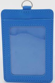 ID Card Name Tag Badge Holder PU leather (Vertical) (Blue)