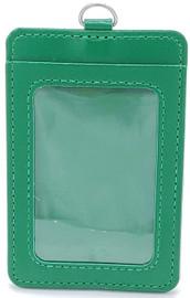 ID Card Name Tag Badge Holder PU leather (Vertical) (Green)