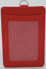 ID Card Name Tag Badge Holder PU leather (Vertical) (Red)
