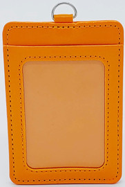 ID Card Name Tag Badge Holder PU leather (Vertical) (Orange)