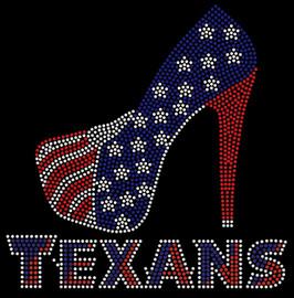 Texans Heel Stiletto Rhinestone Transfer Iron on