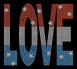 USA Love Text 4th of July Rhinestone Transfer Iron on