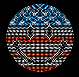 Smiley Smily Face 4th of july Rhinestone Transfer Iron on