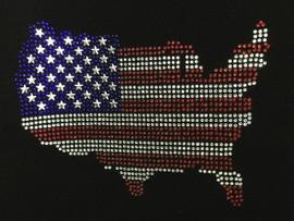 USA Map 4th of july Rhinestone Transfer Iron on