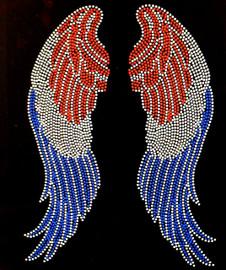 USA Wings 4th of july Rhinestone Transfer Iron on