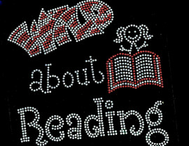Wild About Reading Kid with Book School Rhinestone Transfer