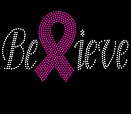 (Fuchsia) Believe Breast Cancer Ribbon Awareness Fuchsia Rhinestone Transfer