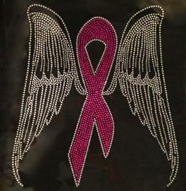 (Fuchsia) Large Breast Cancer Ribbon Awareness Angel Wing Rhinestone Transfer