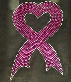 (Fuchsia) Large Heart Shape Cancer Ribbon Awareness Rhinestone Transfer