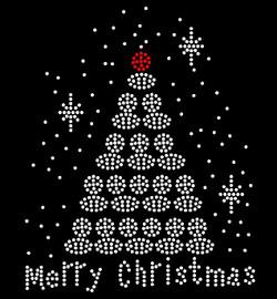 Merry Christmas White Tree Rhinestone Transfer Iron on
