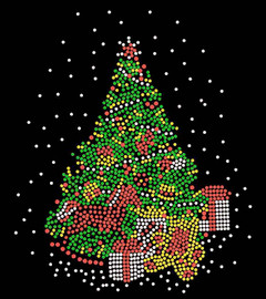 Green Christmas Tree Rhinestone Transfer Iron on