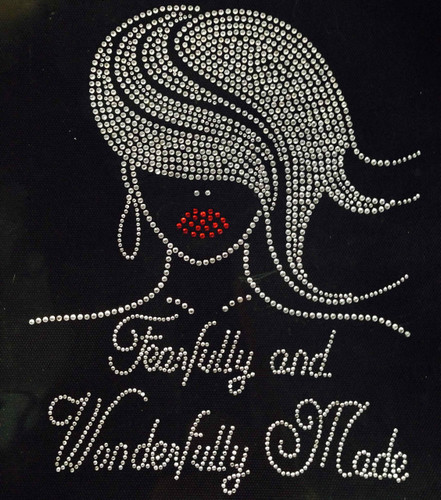 Fearfully And Wonderfully Made Afro Girl CLEAR Straight hair Rhinestone Transfer