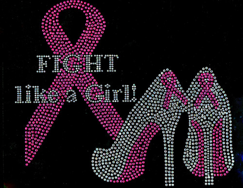 (Fuchsia) Fight like a Girl Heels Stiletto Ribbon Breast Cancer Awareness Rhinestone Transfer