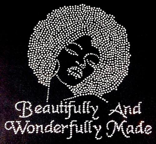 Beautifully And Wonderfully Made Afro Lady Girl Rhinestone Transfer