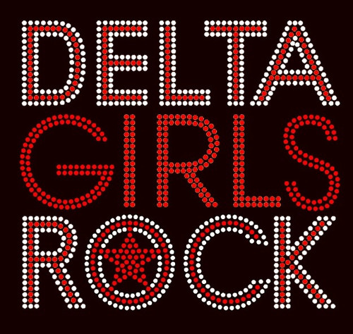 Delta Girls Rock Text (red with clear outline) Rhinestone Transfer