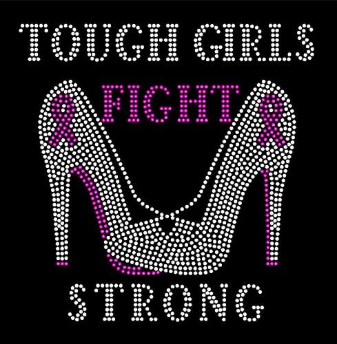 (Fuchsia Heels) Tough Girls Fight Strong Heels Stiletto Cancer Awareness Rhinestone Transfer