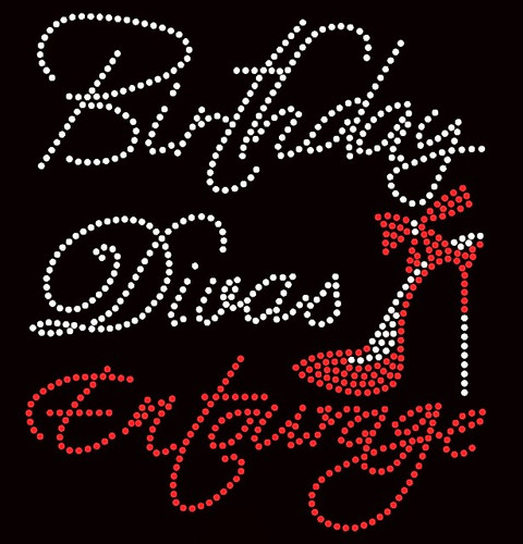 Birthday Diva's Entourage Heel Stiletto Rhinestone Transfer