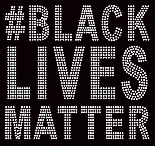 "#Black Lives Matter (Large 8.5"") Bold Text Afro Rhinestone Transfer"
