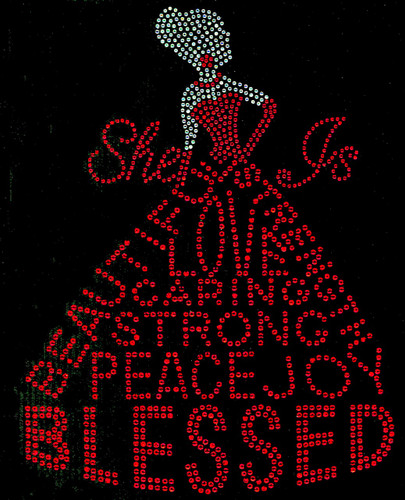 She is Blessed Dress lady (Clear Skin, Red dress) Rhinestone Transfer