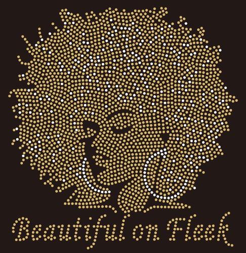 Beautiful on Fleek Golden Afro Girl custom Rhinestone Transfer BESTSELLER