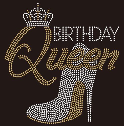Birthday Queen Heel Crown custom Rhinestone Transfer BESTSELLER