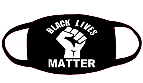 Black Lives Matter curved with fist 3x3.2 Vinyl Transfer for Mask (White) (Mask sold separately)