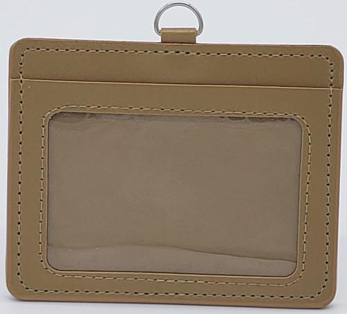 ID Card Name Tag Badge Holder PU leather (Horizontal) (Brown)