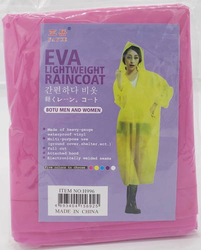 Gown / Rain Coat (PINK) for Water Falls, Beach party, Fishing, Outdoor Hiking, rain protection