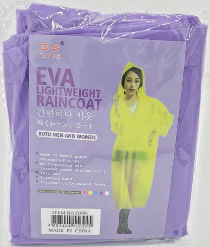 Gown / Rain Coat (Purple) for Water Falls, Beach party, Fishing, Outdoor Hiking, rain protection