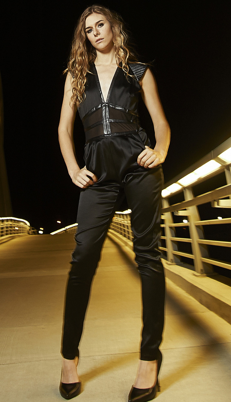 Satin and Mesh  Jumpsuit