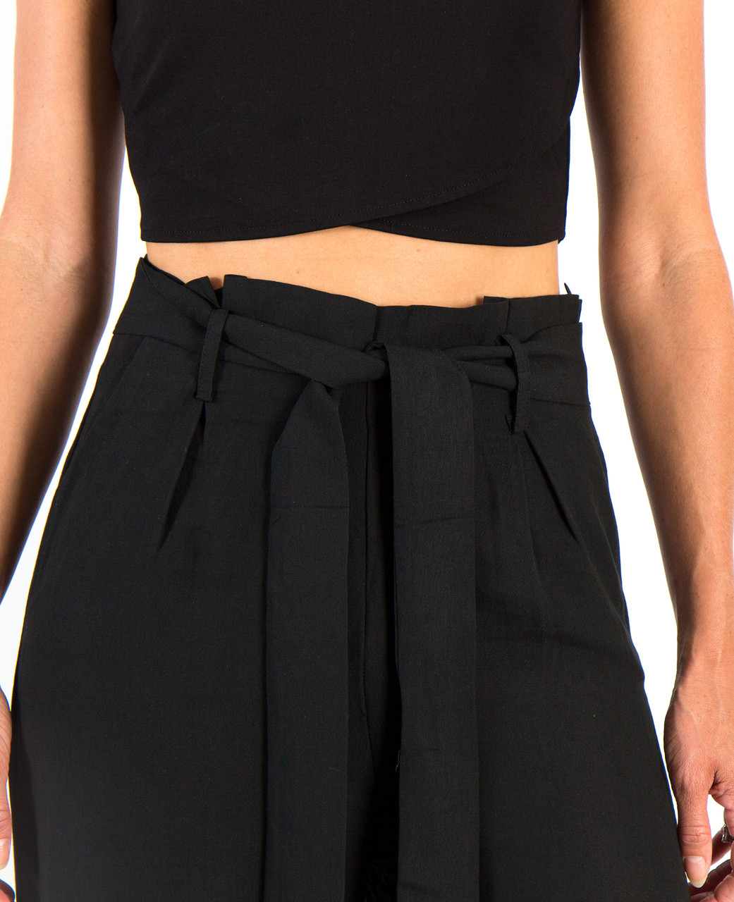 Harper Paper Bag Pants - Black