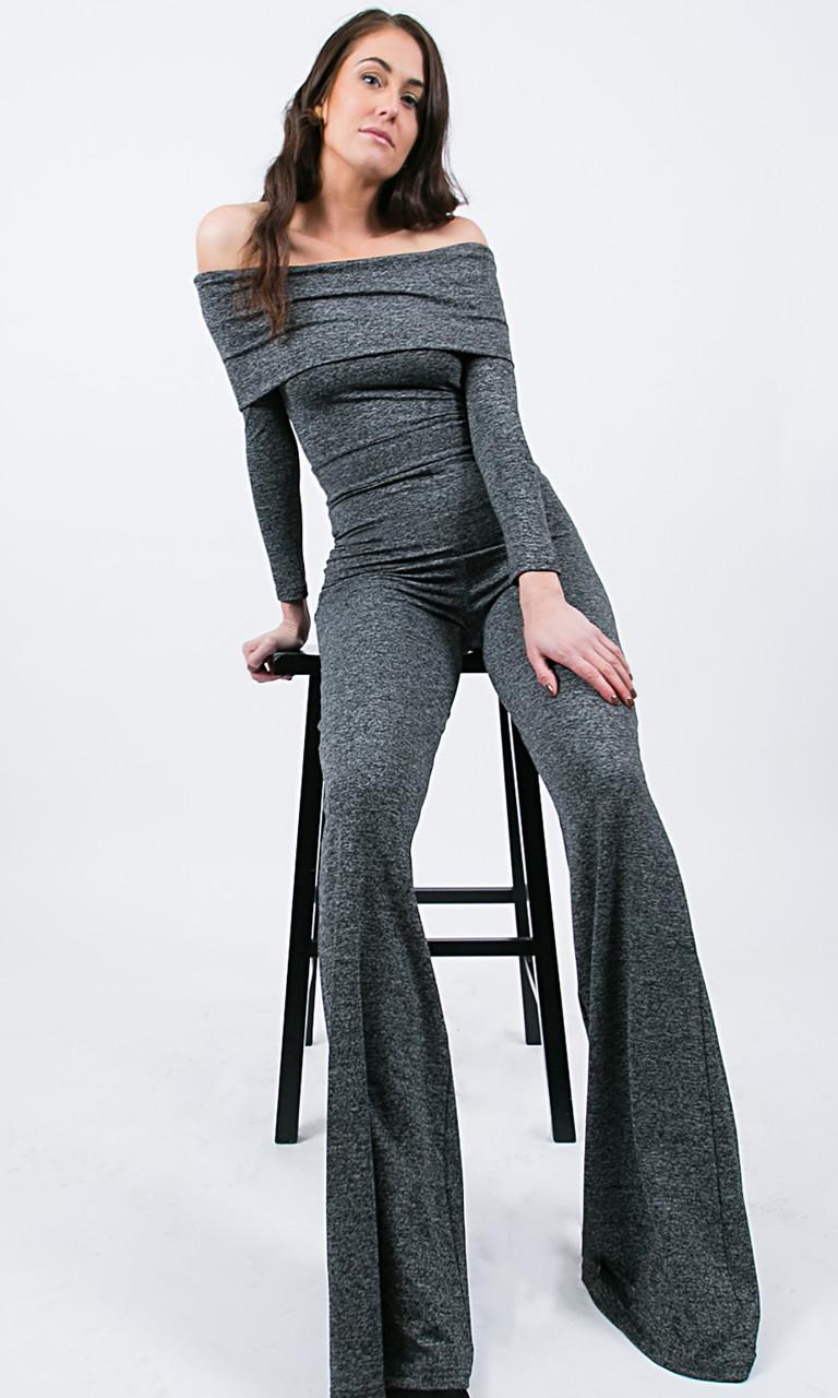 Piper Foldover Jumpsuit - Dark Gray