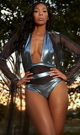 Metallic Mesh Inset One-piece Swimsuit