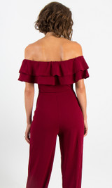 Ruffle Jumpsuit - Wine