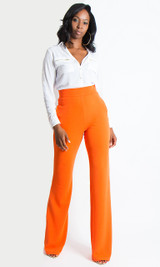 Paris Wide Leg Pants - Orange