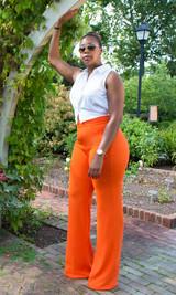 Paris Wide Leg Pants - Orange